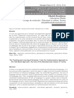L'enseignement-apprentissage de la grammaire  de l'approche communicative à la perspective actionnelle, le cas de la classe de Terminale en Tunisie
