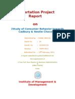 Dissertation Project Report on Nestle & Cadbury Chocolates