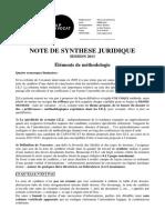 METHODOLOGIE NOTE DE SYNTHESE