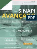 Treinamento de SINAPI AVANÇADO em Recife - PE - 06 e 07 de Julho