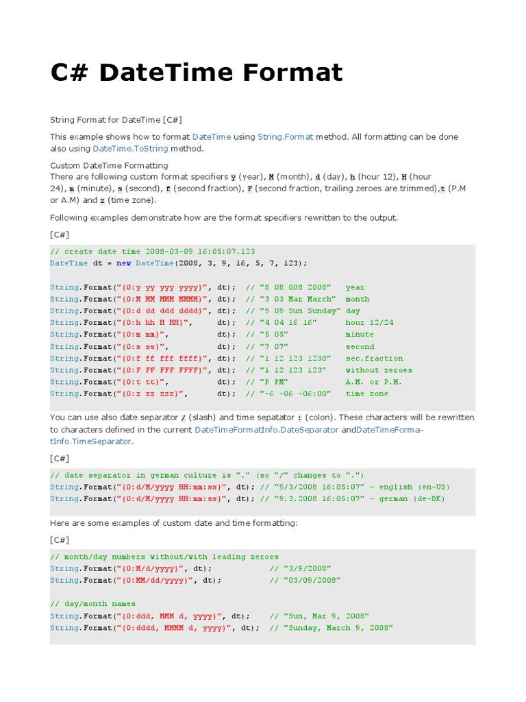 C# DateTime Format | C Sharp (Programming Language) | Command Line