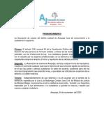 Pronunciamiento de la Asociación de Jueces del Distrito Judicial de Arequipa