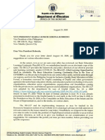 Response of the Department of Education to the OVP's Letter Regarding the Community
