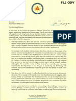 Correspondence of the Office of the Vice President and the Department of Education Regarding OVP's Community Learning Hubs