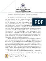NARRATIVE REPORT FOR THE OPENING OF CLASSES