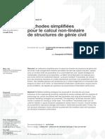 Méthodes simplifiées pour le calcul non-linéaires de structures de génie civil