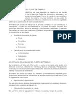 ANALISIS DEL PUESTO DE TRABAJO