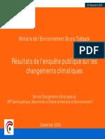 Résultats de l'enquête publique sur les changements climatiques (2005)