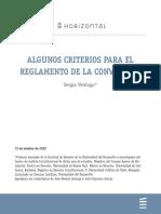 ALGUNOS CRITERIOS PARA EL REGLAMENTO DE LA CONVENCIÓN
