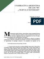 La joven narrativa argentina de los 90 - Nueva o novedad