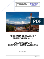 Programa de Trabajo y Presupuesto 2016 - Caipipendi