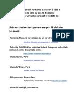 Lista Muzeelor Europene Vizitabile Online