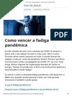 Como vencer a fadiga pandémica – Textos bíblicos e princípios úteis