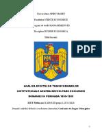 TC 1-IsTORIE ECONOMICA-Analiza Efectelor Transformarilor Institutionale Asupra Dezvoltarii Economiei Romaniei in Perioada 1859-1939.