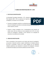 Politicas Lineas Investigacion UI 2010