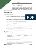 BIODIVERSITY AND EVOLUTION-WORKBOOK