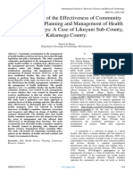 An Assessment of the Effectiveness of Community Participation in Planning and Management of Health Facilities in Kenya a Case of Likuyani Sub-County, Kakamega County