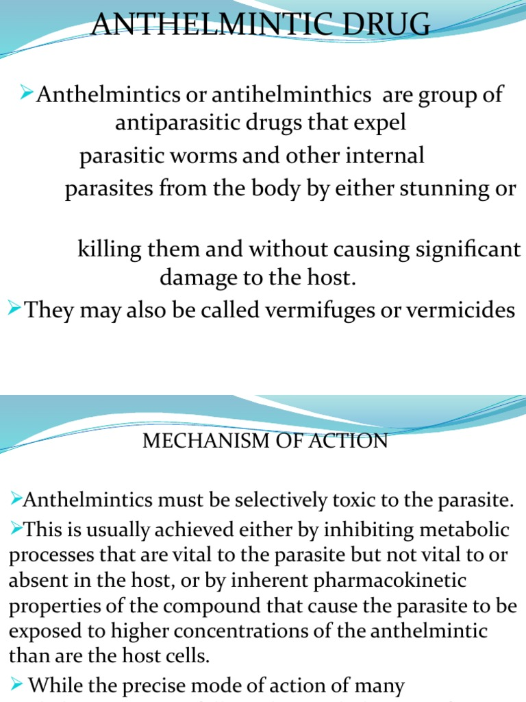 antiparasitic and anthelmintic