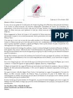 Lettre à  Mme. Michelle Bachelet, Haute Commissaire aux Droits de l'Homme, Genève