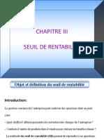 Chapitre III Seuil de Rentabilite