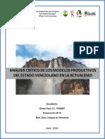 ACTIVIDAD II ANÁLISIS DE LA CRISIS DE LOS MODELOS PRODUCTIVOS DE VENEZUELA