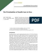 The privatizacion of health care in Peru