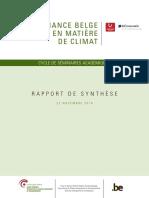 Gouvernance belge en matière de climat - Rapport de synthèse (2018)