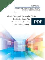 Actividad 1 Lección 8. Sistemas políticos, representación y cambio político y social
