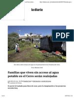 Familias que viven sin acceso al agua potable en el Cerro serán realojadas   la diaria   Uruguay