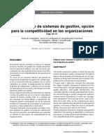 La Integracion de Sistemas de Gestión, opción para la competitividad en las organizaciones