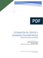 Estimación de costos y examenes piscometricos Gustavo Sebastian Molina