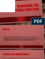MANAGING THE OPERATIONS FUNCTION