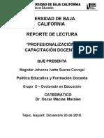 PROFESIONALIZACIÓN Y CAPACITACIÓN DOCENTE - Reporte de Lectura 4 - Johanna Ivette Suarez Carvajal