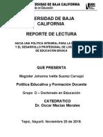 Hacia una política integral para la formación y el desarrollo profesional de los maestros de educación básica - Reporte de Lectura 3 - Johanna Ivette Suarez Carvajal