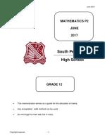 SPen Mathematics June P2 Memo 2017