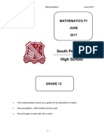 SPen Mathematics P1 Memo 2017