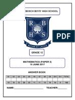 RBHS Gr 12 June P2 Answer Book 2017