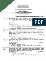 Ordinea de Zi a Ședinței plenare a Parlamentului Republicii Moldova din 27 noiembrie 2020