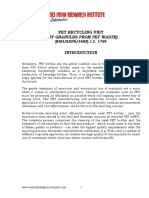 PROJECT REPORT ON PET RECYCLING UNIT (PET GRANULES FROM PET WASTE)