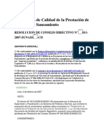 16. Reglamento de Calidad de la Prestación de Servicios de Saneamiento RES.-C.D.-N°-011-2007-SUNASS-CD