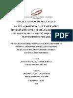 .DETERMINANTES ESTILO DE VIDA SALUDABLE EN EL ADULTO JOVEN DEL AA. HH LOS CONQUISTADORES-NUEVO CHIMBOTE-PERÚ,2020.-SEMANA2