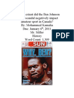 Ben Johnson Steroid Scandal Annotated Biography