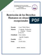 Est. Ivan Andres Agreda Cuaquira 1D2 Restricción de los DDHH en situaciones excepcionales Lenguaje.docx