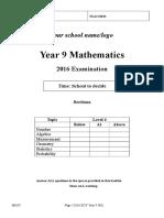 Exam 2016 Year 9  (1)