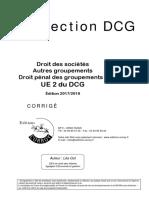 Collection DCG. Droit des sociétés Corroy Corrigé UE 2 du DCG. Édition 2017_2018