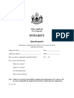 Police Applicant Integrity Questionnaire