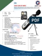 Ficha Tecnica Sonometro de Ruido Profesional Cem (Tipo Extech Hd600) Dt-8852