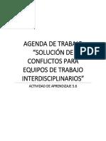 Agenda de trabajo Solución de conflictos para equipos de trabajo interpersonal