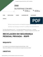 Reciclagem em Segurança Pessoal Privada – RSPP – Self Defense
