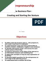 Business Plan Creating & Starting the Venture